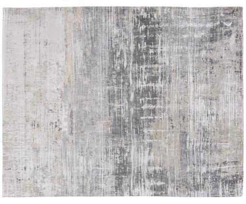 Designteppich Streaks, Vorderseite: 85%Baumwolle, 15%hochgl, Webart: Jacquard, Rückseite: Baumwollgemisch, latexbes, Grautöne, B 280 x L 360 cm (Größe XL)