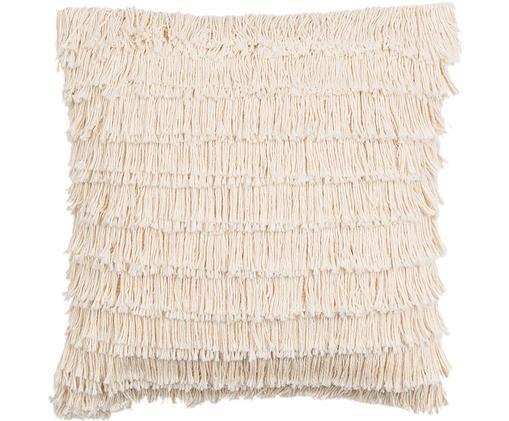 Boho Kissenhülle Mia mit Fransen, Baumwolle, Cremeweiß, 45 x 45 cm
