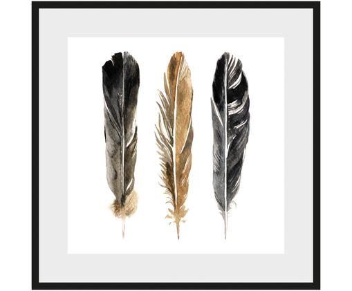 Gerahmter Digitaldruck Three Feathers, Weiß, Schwarz, Braun