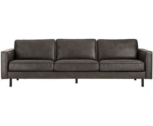 Sofa Hunter (4-Sitzer), Bezug: 70% recyceltes Leder, 30%, Gestell: Massives Birkenholz und h, Füße: Metall, pulverbeschichtet, Braungrau, B 264 x T 90 cm