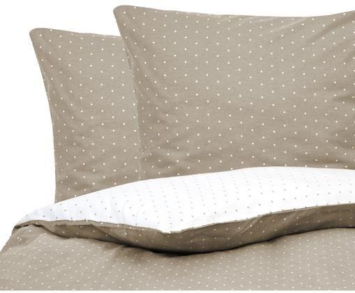 Flanell-Wendebettwäsche Betty, gepunktet, Baumwolle, Flannell, Beige, Weiss, 240 x 220 cm