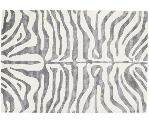 Alfombra artesanal con estampado de cebra Kapstadt, Parte superior: 75%viscosa, 25%lana, Reverso: 100%algodón, Gris, crema, An 200 x L 300 cm