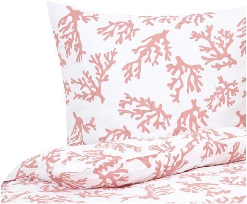 Baumwollsatin-Bettwäsche Cora, Webart: Satin, leicht glänzend, Korallfarben, 135 x 200 cm