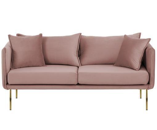 Canapé en velours Ivy (2places), Revêtement: rose Pieds: couleur dorée