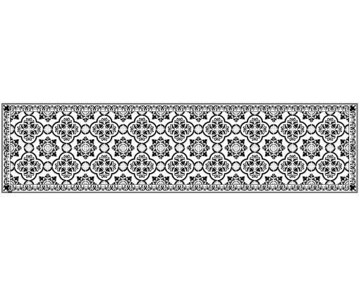 Tapis de cuisine en vinyle Elena, Noir, blanc, gris