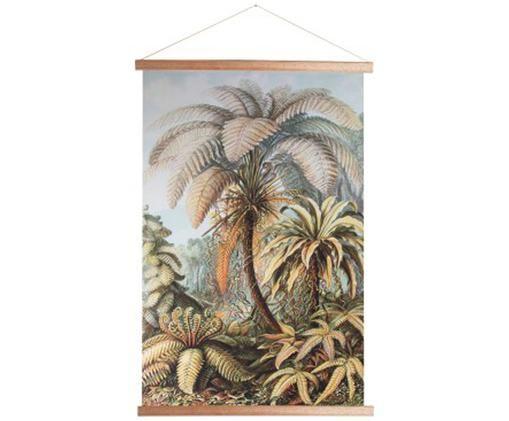 Decorazione da parete Jungle, Immagine: cotone, Cornice: legno, Multicolore, Larg. 70 x Alt. 100 cm