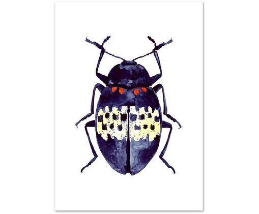 Poster Blue Beetle, Digitaldruck auf Papier, 200 g/m², Blau, Weiß, Rot, Gelb, 21 x 30 cm