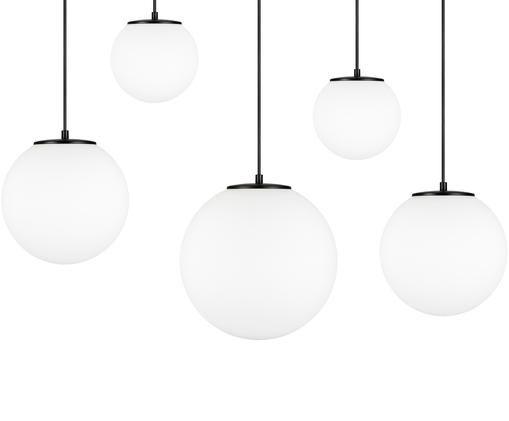 Suspension boule en verre opalescent Tsuki, Blanc opalescent, noir