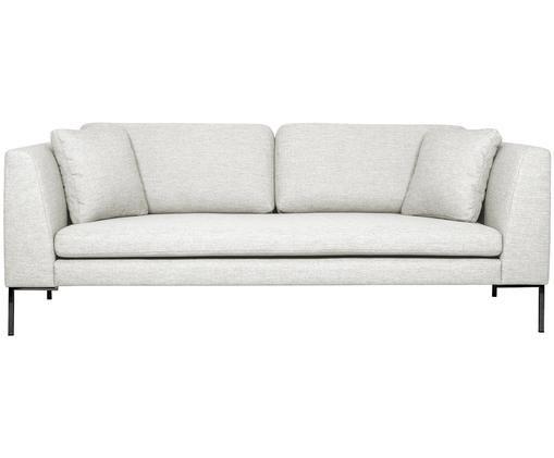 Sofa Emma (3-Sitzer), Bezug: Polyester 100.000 Scheuer, Gestell: Massives Kiefernholz, Füße: Metall, pulverbeschichtet, Webstoff Cremeweiß, Füße Schwarz, B 227 x T 100 cm