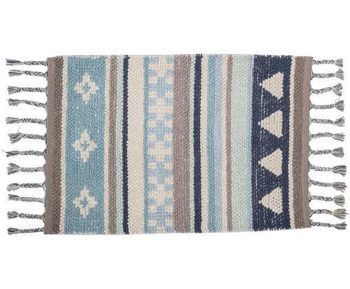 Tappeto in cotone con nappe Nagou, Cotone, Tonalità blu, grigio, beige, Larg. 60 x Lung. 90 cm
