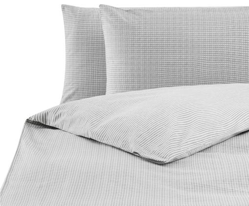 Parure copripiumino Renforcé con motivo pied-de-poule Grady, 3 pz., Tessuto: Renforcé, Grigio, bianco, 250 x 200 cm