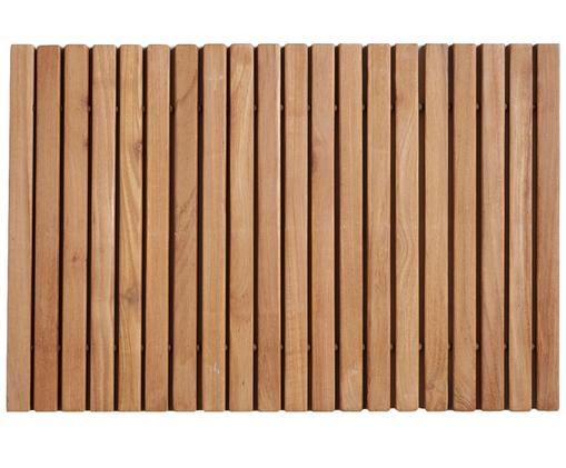 Mata łazienkowa z drewna Anna, Drewno tekowe Produkt wykonany z certyfikowanego drewna tekowego z Indonezji, pochodzącego głównie z nadmiaru drewna powstałego w ramach produkcji mebli., Brązowy, S 40 x D 60 cm