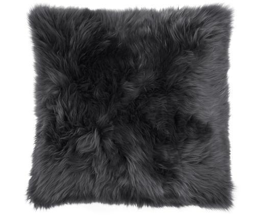 Schaffell-Kissenhülle Oslo, glatt, Vorderseite: Schaffell, Rückseite: Leinen, Vorderseite: Dunkelgrau Rückseite: Dunkelgrau, 40 x 40 cm