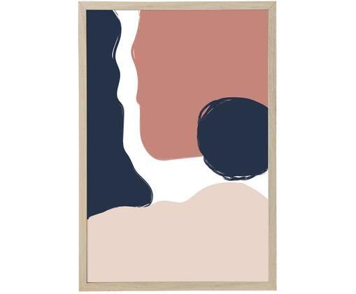 Oprawiony druk cyfrowy Carnation, Niebieski, blady różowy