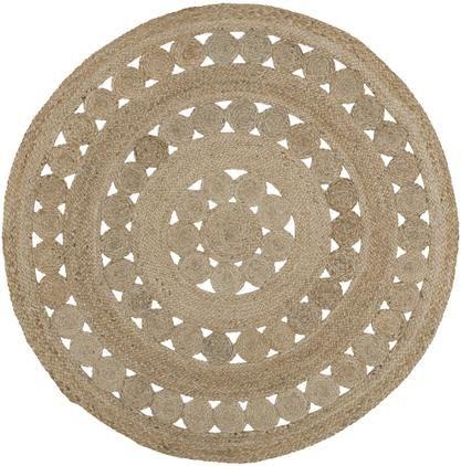Runder Jute-Teppich Shyam im Boho Style, handgefertigt