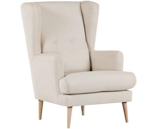 Fauteuil Robin in Scandi design, Bekleding: 90% polyester, 10% polyam, Poten: gelakt hout, Beige, B 77 x D 85 cm