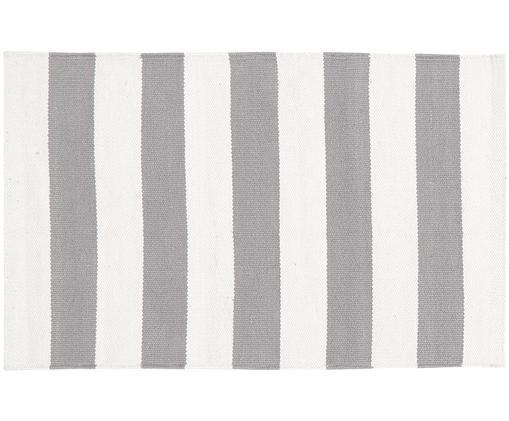 Tappeto in cotone a strisce Blocker, Cotone, Bianco crema/grigio chiaro, Larg. 50 x Lung. 80 cm (taglia XXS)