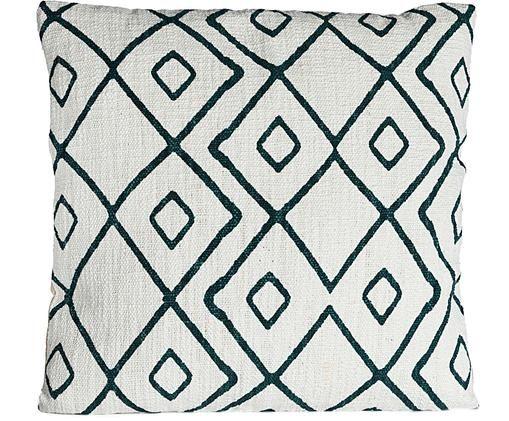 Housse de coussin à imprimé graphique Pivja, Blanc cassé, bleu foncé
