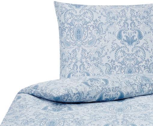 Baumwollsatin-Bettwäsche Grantham mit Paisley-Muster, Blau, 135 x 200 cm
