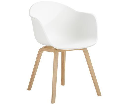 Kunststoff-Armlehnstuhl Claire mit Holzbeinen, Sitzschale: Kunststoff, Beine: Buchenholz, Sitzschale: WeissBeine: Buchenholz, B 61 x T 58 cm