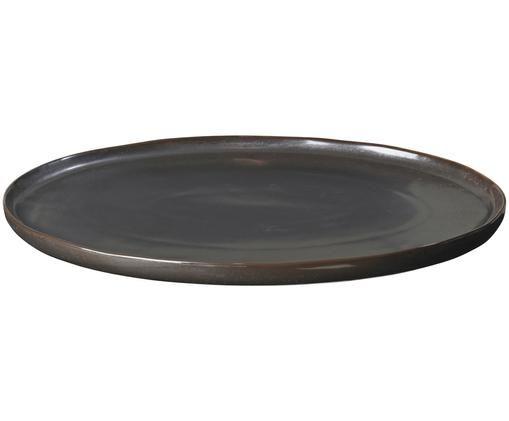 Piatto da portata fatto a mano Esrum Night, Gres smaltata, Marrone grigiastro lucido argenteo opaco, L 39 x P 26 cm