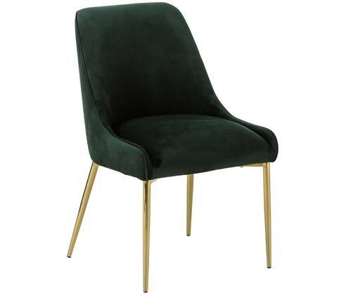 Samt-Polsterstuhl Ava mit goldfarbenen Beinen, Bezug: Samt (100% Polyester) 50., Beine: Metall, galvanisiert, Dunkelgrün, B 53 x T 60 cm