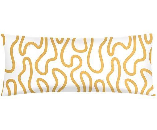Funda de almohada de percal Elliot, Blanco, amarillo