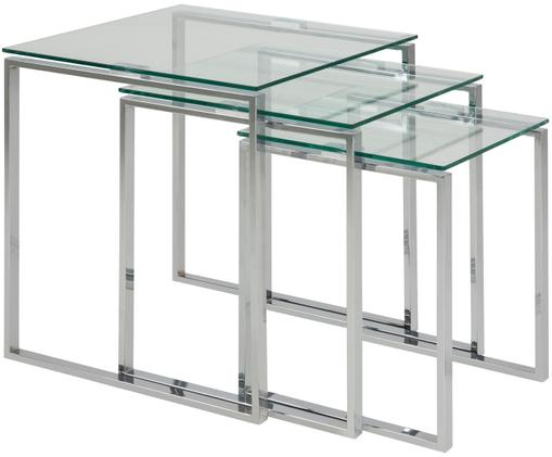 Set 3 tavolini con piano in vetro Katrine, Struttura: acciaio cromato, Piano d'appoggio: vetro temperato, Cromo, trasparente, Diverse dimensioni