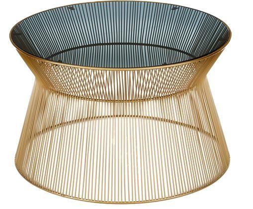 Okrągły stolik kawowy ze szklanym blatem Vic, Blat: szkło barwione, Stelaż: metal pozłacany, Złoty, czarny, Ø 67 x W 41 cm