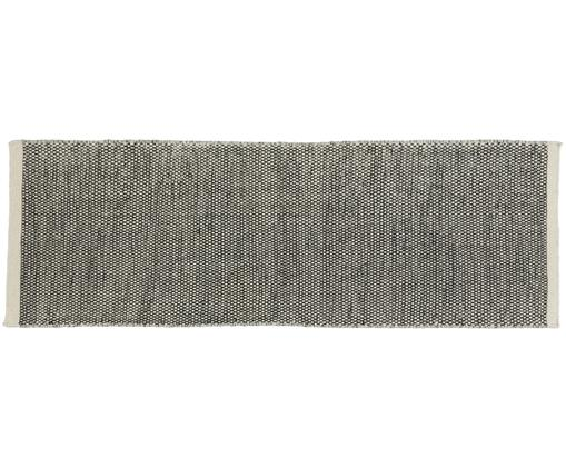 Alfombra de lana tejida a mano Asko, Parte superior: 90% lana, 10% algodón, Reverso: algodón, Negro, crema, An 80 x L 250 cm