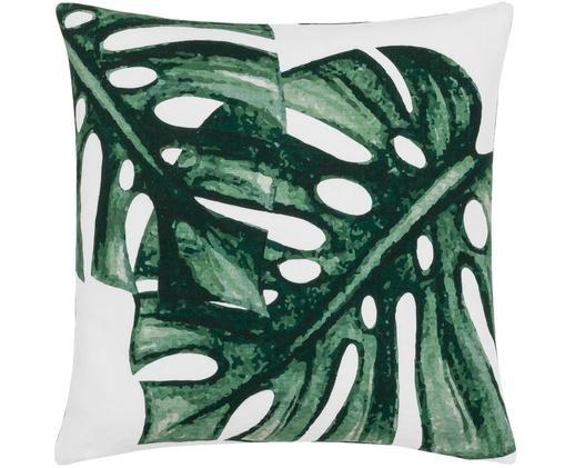 Kissenhülle Tropics mit Monstera Print in Grün/Weiß, Baumwolle, Grün, Weiß, 50 x 50 cm