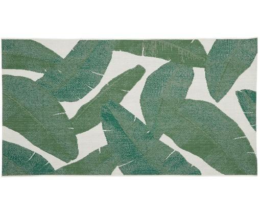 In- & Outdoorteppich Jungle, Flor: Polypropylen, Weiß, Grün, B 80 x L 150 cm (Größe XS)