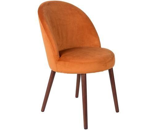 Chaise en velours rembourrée Barbara, Revêtement: orange Pieds: brun noyer