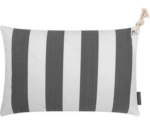 Gestreifte Outdoor-Kissenhülle Santorin, Polypropylen, Anthrazit, gebrochenes Weiß, 40 x 60 cm