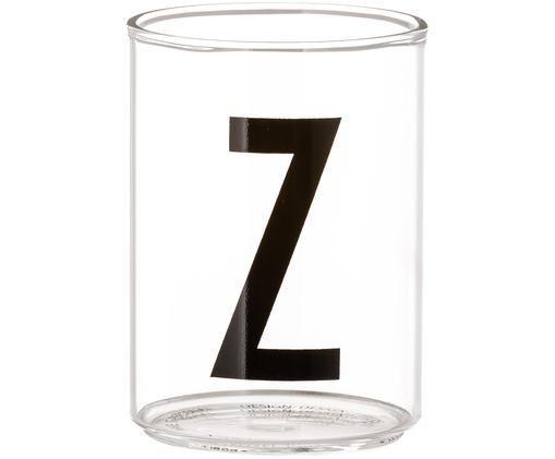 Waterglas Personal (varianten van A tot Z), Transparant, zwart