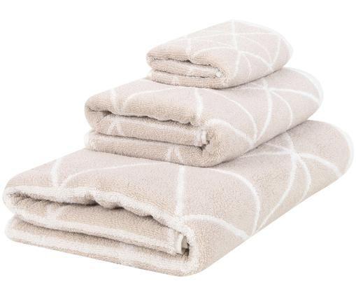 Parure de bain réversible Elina, 3élém., Couleur sable, blanc crème