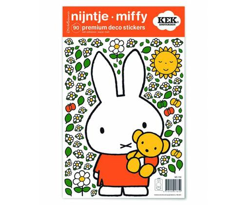 Set 90 adesivi murali Miffy with Little Bear, Film vinilico autoadesivo, opaco, Multicolore, Larg. 21 x Alt. 33 cm