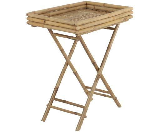Tavolino-vassoio in bambù Tropical, Bambù, Marrone, Larg. 63 x Prof. 43 cm