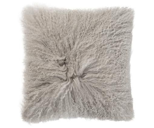Langhaar-Schaffell Kissen Curly, mit Inlett, Vorderseite: Schaffell, Rückseite: Baumwollsamt, Beige, 35 x 35 cm