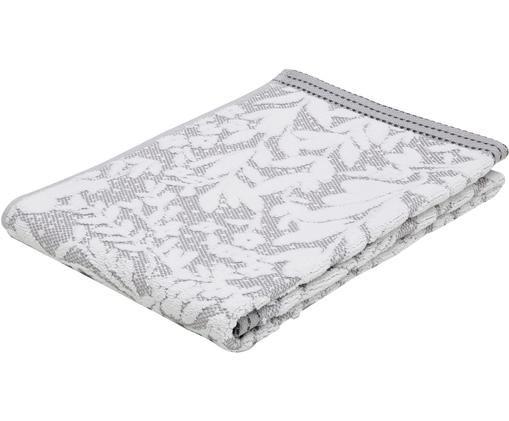 Asciugamano con motivo floreale Matiss, Bianco, grigio argento, Asciugamano
