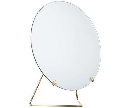 Make-up spiegel Standing Mirror, Ophanging: messingkleurig. Spiegel: spiegelglas, 20 x 23 cm