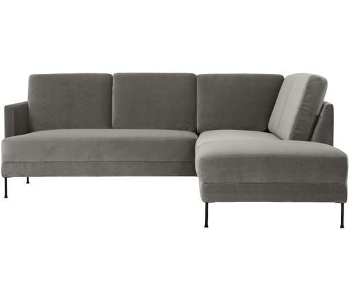 Canapé d'angle en velours Fluente, Brun-gris