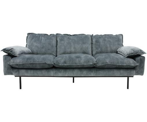 Samt-Sofa Retro (3-Sitzer), Petrol, Schwarz