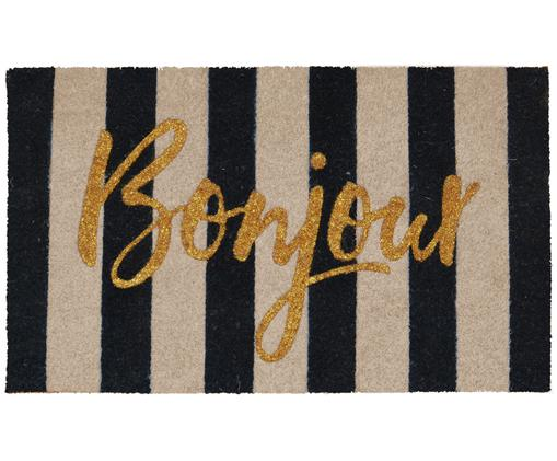 Fußmatte Bonjour Gold in Beige/Schwarz, Oberseite: Kokosfaser, Unterseite: PVC, Schwarz, Beige, Goldfarben, 45 x 75 cm