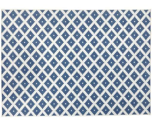 Tappeto reversibile per interni ed esterni Nizza, Blu, color crema
