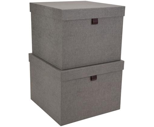 Set scatole custodia Tristan, 2 pz., Scatola: solido, cartone laminato, Manico: pelle, Grigio, Diverse dimensioni