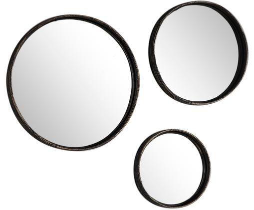 Wandspiegel-Set Ricos, 3-tlg., Rahmen: Rattan, beschichtet, Spiegelfläche: Spiegelglas, Dunkelbraun, Schwarz, Verschiedene Grössen
