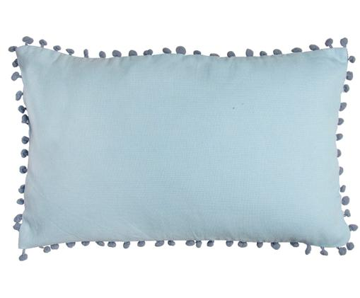 Federa arredo con pompon Bonifacio, Cotone, Blu, blu indaco, Larg. 30 x Lung. 50 cm