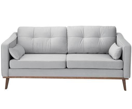 Samt-Sofa Alva (2-Sitzer), Bezug: Samt (Hochwertiger Polyes, Gestell: Massives Kiefernholz, Füße: Massives Buchenholz, gebe, Grau, B 160 x T 94 cm