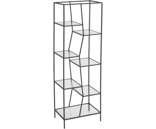 Libreria Structure, Metallo rivestito, vetro, Nero, trasparente, Larg. 50 x Alt. 150 cm